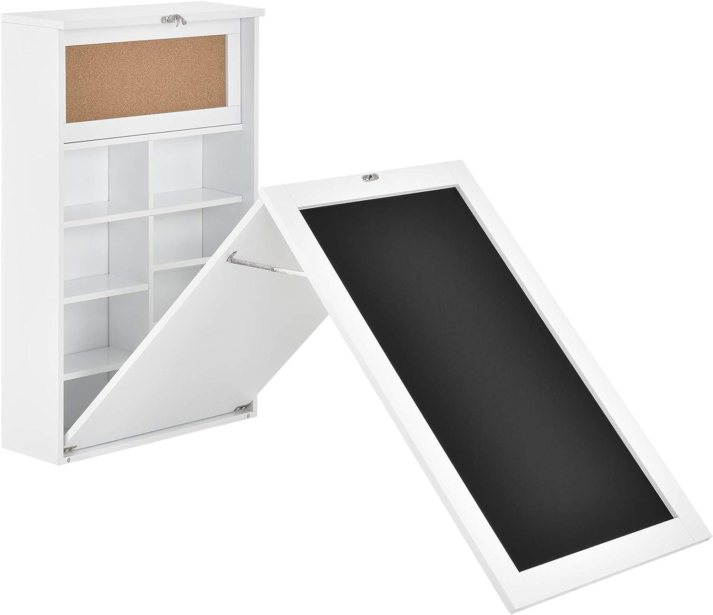 en.casa Escritorio Plegable de Pared con Corcho y Pizarra 80 x 50 x 18,5 cm MDF con Estantes para almacenar Negro