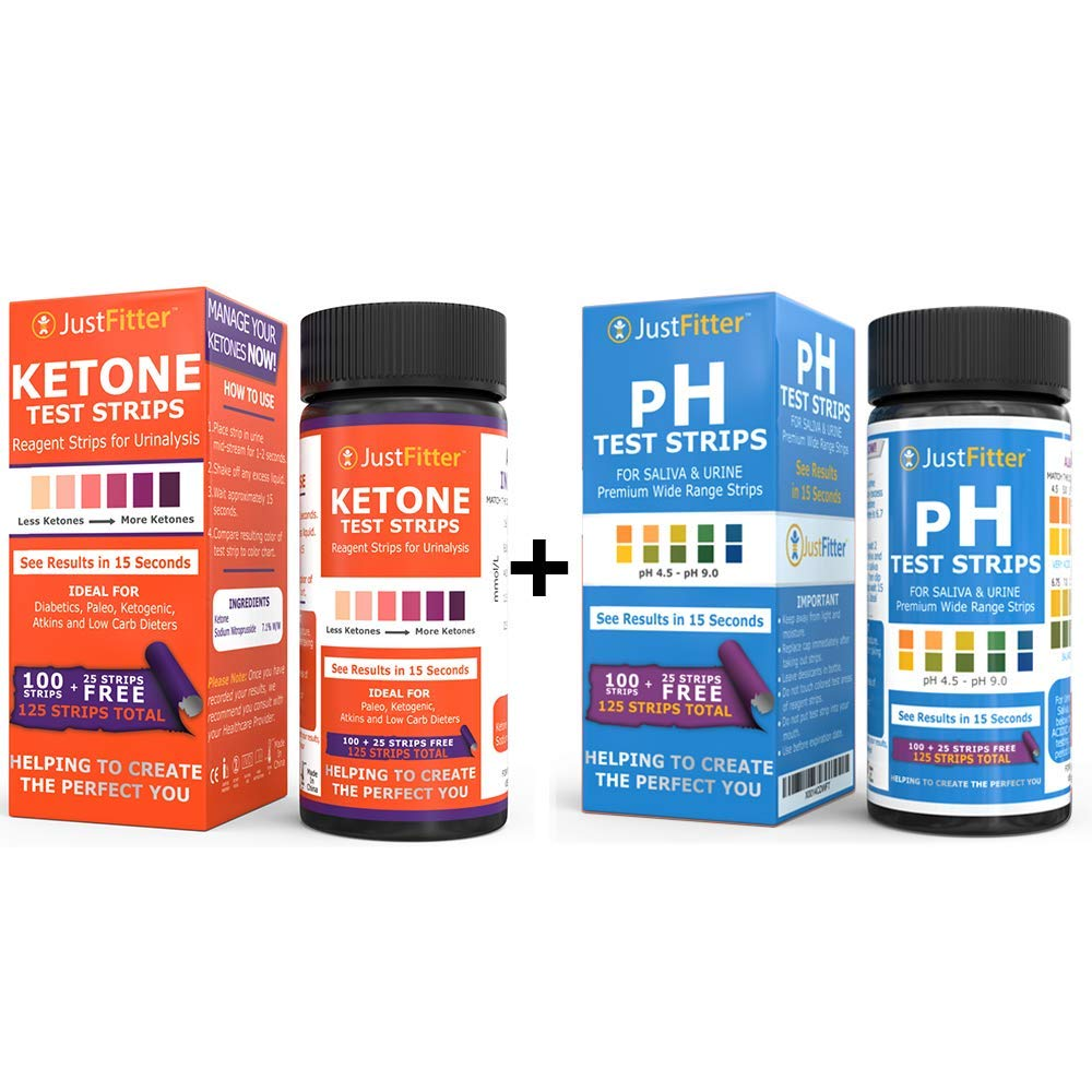 Ketone Test Strips. Testing Levels of Ketones Suitable for Diabetics, Low Carb, Fat Burning Dieters. (Ketones + PH Test Strips, Ketones & PH Bottle) by Just Fitter