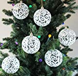 Image of Transparent White Swirl Clear Shatterproof Christmas Ball Ornaments / Tree Decorations, Set of 6, 80mm