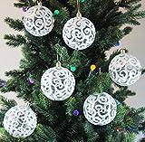 Sleetly 12pk Transparent Swirl Christmas Tree Ball Ornaments, White, 3.15 inches