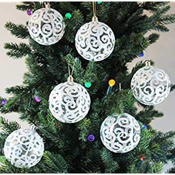 Festive Season White Swirl Shatterproof Christmas Ball Ornaments, Tree Decorations (Set of 6, 80mm)