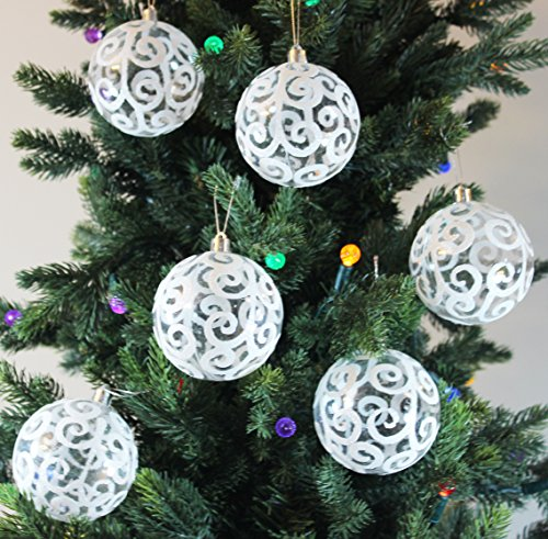 Christmas Decorations In White - Festive Season White Swirl Shatterproof Christmas Ball Ornaments, Tree Decorations (Set of 6, 80mm)