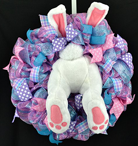 Easter Bunny Butt Summer Spring Welcome Door Wreath; Pink, Turquoise, Purple, White