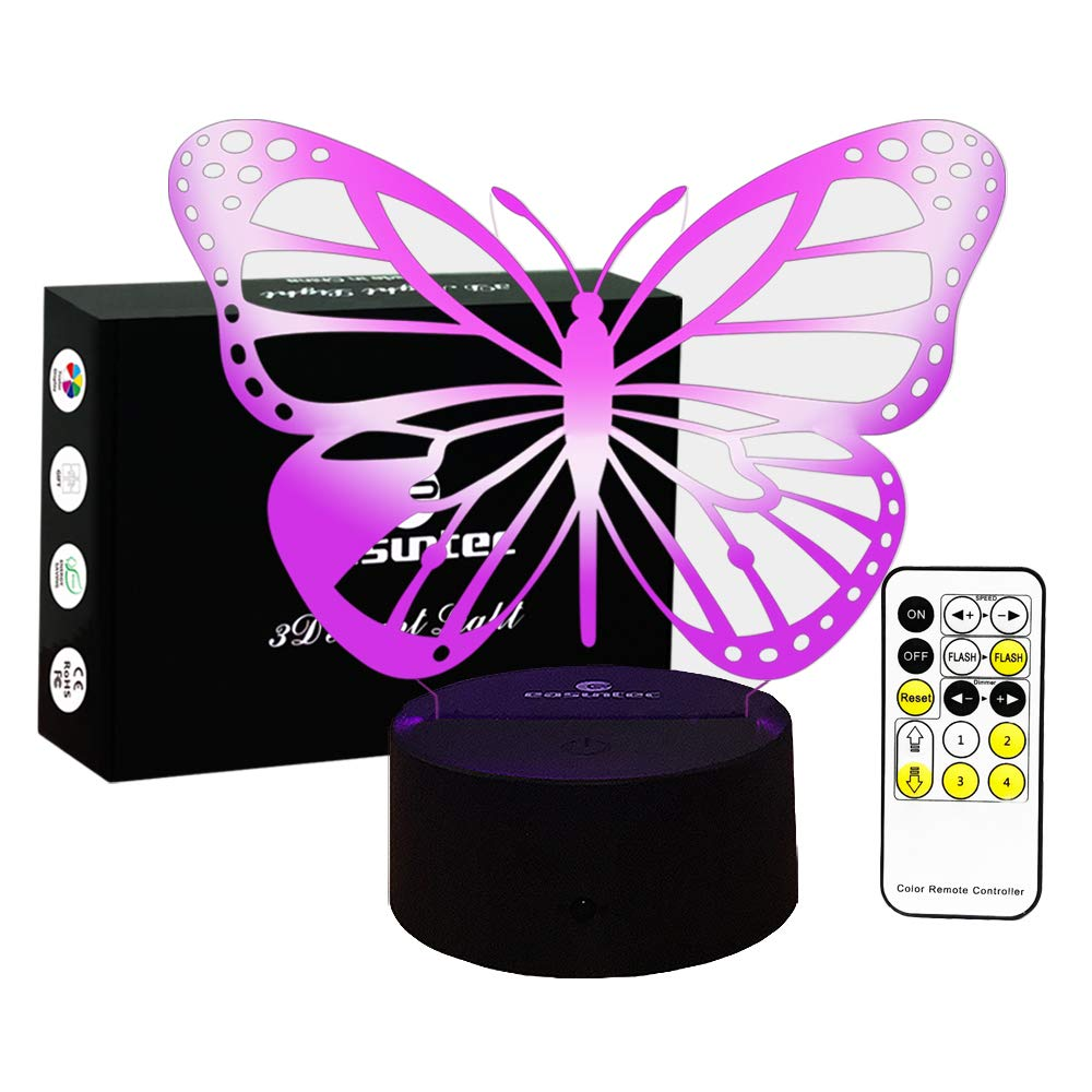 Baby Night Light Butterfly 7 Colors Change with Remote Birthday Gifts for Her Girl Gifts for A Girl or Animal Lover or Baby Room Decor by Easuntec (Butterfly)