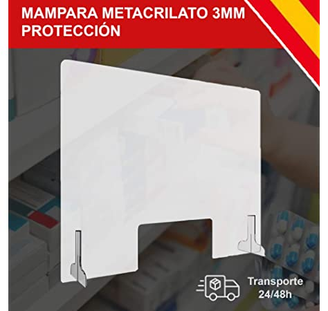 Mampara mostrador de metacrilato, Mampara Protección Metacrilato, Mampara metacrilato transparente 60x50cm: Amazon.es: Bricolaje y herramientas