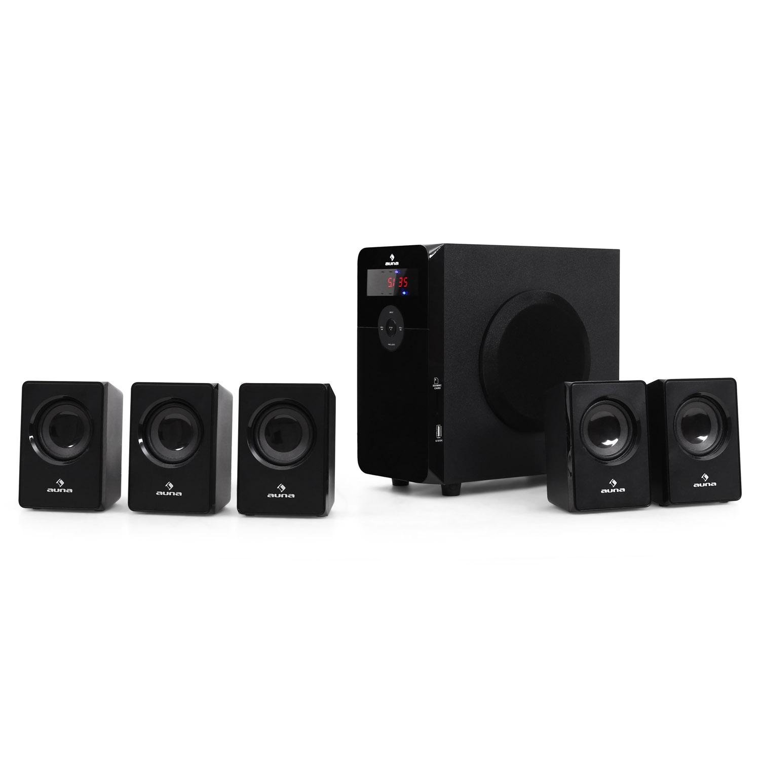 200 Watts max Bluetooth Touch Display OneSide Bass Reflex Subwoofer SD Black USB incl Sound System auna Areal Touch 5.1 Speaker System Surround Audio System Remote Control