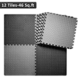 innhom Gym Flooring Mat Interlocking Foam Mats Puzzle Exercise Mat with EVA Foam Floor Tiles for Gym Equipment Workouts, 12 Tiles, 46 SQ. FT, Black and Gray