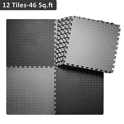 innhom Interlocking Foam Mats Gym Mat Puzzle Exercise Mat with EVA Foam Interlocking Tiles, 12 Tiles, 46 SQ. FT, Black and Gray - Interlocking Foam Puzzle Mats
