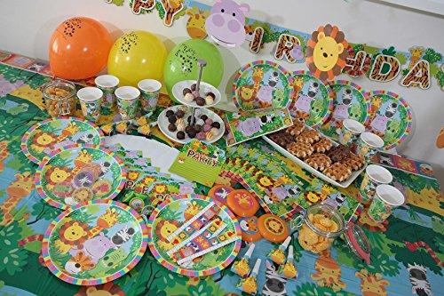 Dschungel Tiere Kleinkind Party Set XL 107-teilig f/ür 8 G/äste Safari Design Deko Partypaket