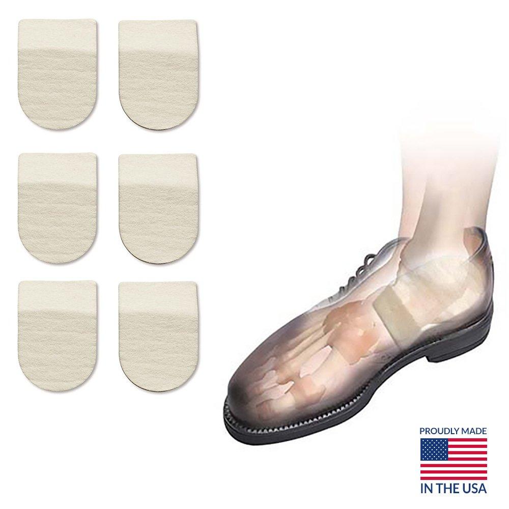 Hapad Heel Pads, Achilles Inserts, Heel Cushion Pads - 2-1/2'' x 5/16'' (WxH) Pack of 3 pairs of Hapad Heel Cushion Pads
