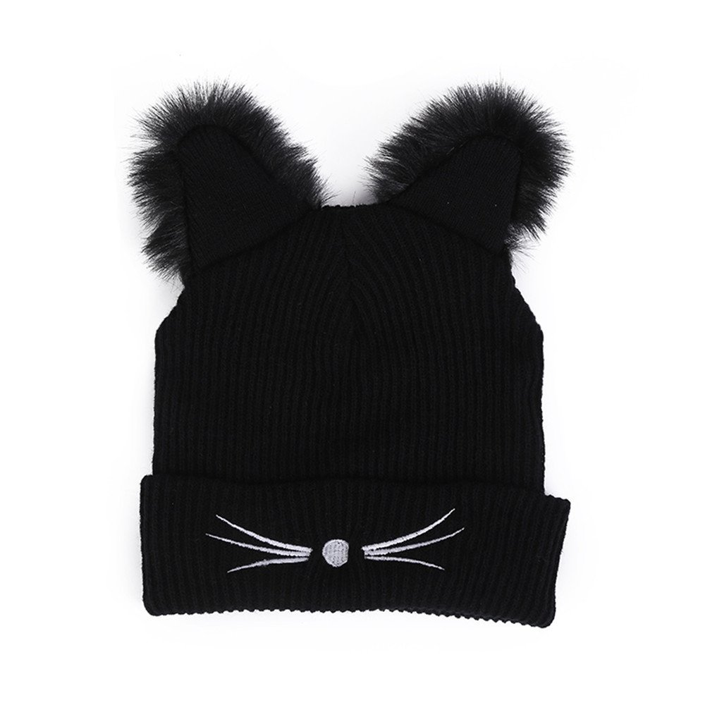 DongDong ♫2018 Fashion Hat, Lady's Cat Ear Embroidered Knitted Cap
