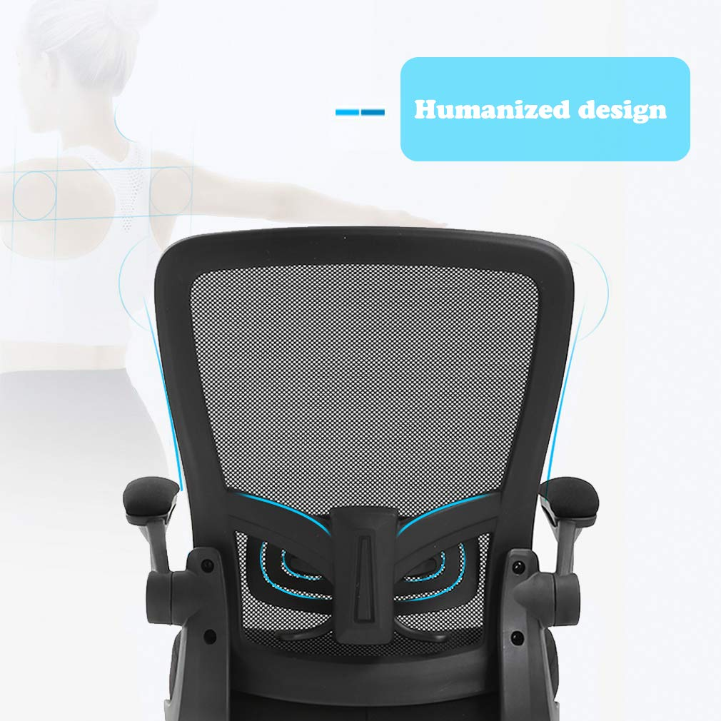 Ergonomic Office Chair Cheap Desk Chair Mesh Computer Chair with Lumbar Support Flip Up Arms Swivel Rolling Adjustable Mid Back Computer Chair for Women Men Adults,Black by BestOffice (Image #3)