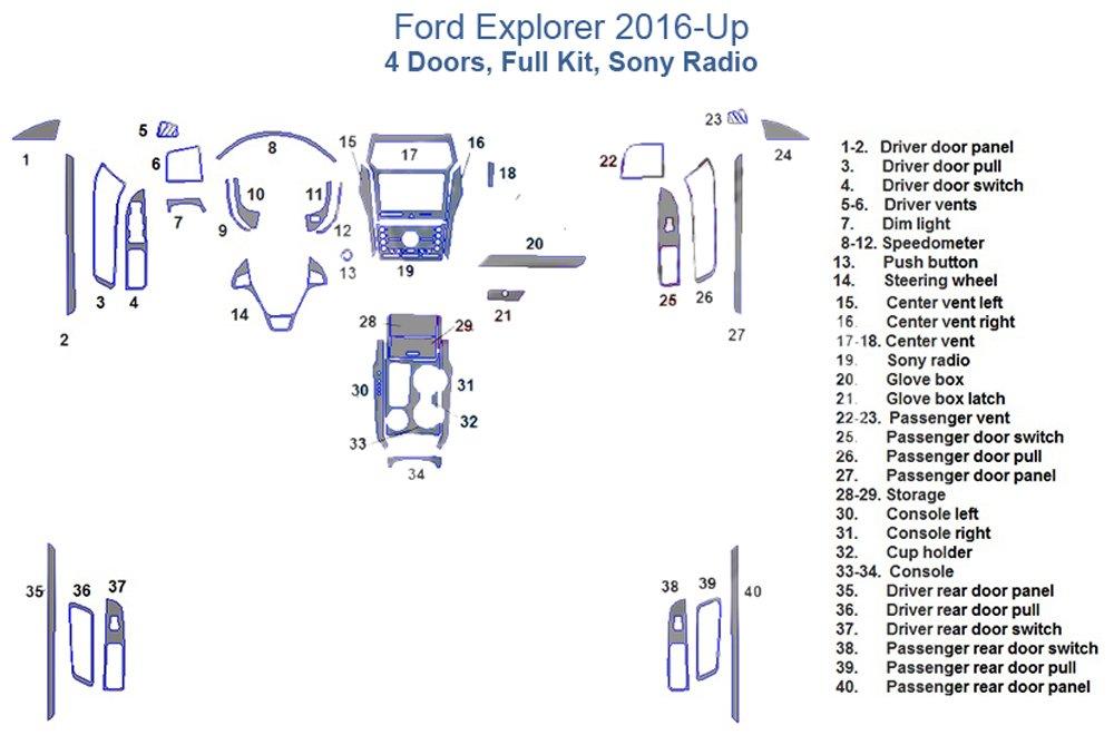 Ford Explorer Fullダッシュトリムキット、4ドア、Sonyラジオ レッド SKU1625-Solid Red B073DH9T4B  レッド単色