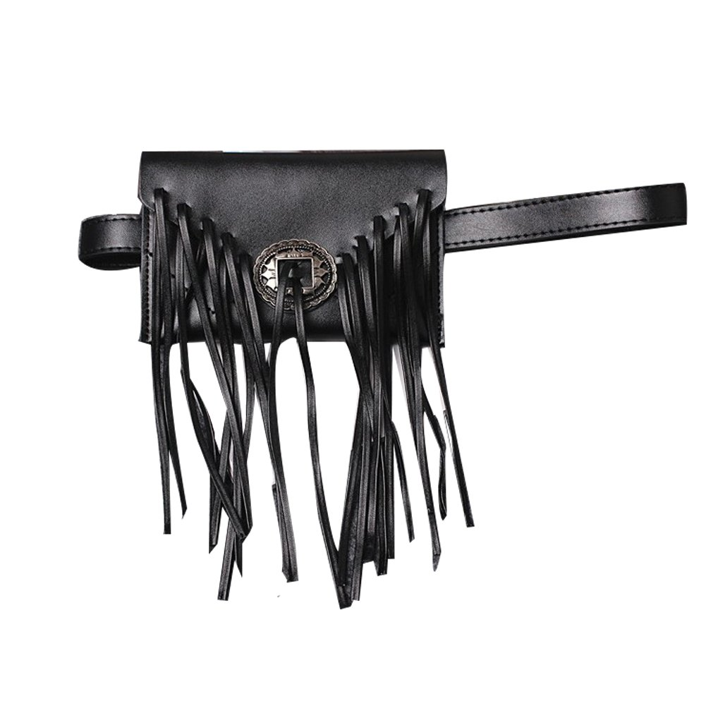 Stylish PU Leather Tassel Waist Fannny Pack Fringe Bag Travel Phone Purse for Women