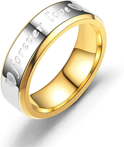 Bishilin Stainless Steel Engraved forever lover Mens Engagement Rings Size 9