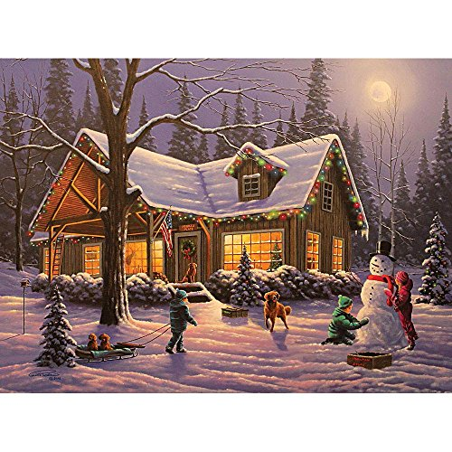 Bits and Pieces - 300 Large Piece Glow in the Dark Puzzle for Adults - Family Traditions by Artist Geno Peoples - Winter Christmas Cabin - Holiday - 300 pc Jigsaw