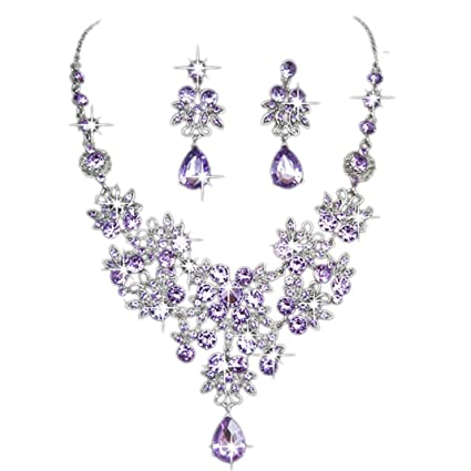 dddc0b58b19bed Crystal Rhinestone Pendant Necklace Earrings Set for Women Girls Mingfa  Flower Prom Wedding Bridal Charm Statement Jewelry (Purple): Amazon.co.uk:  Kitchen & ...