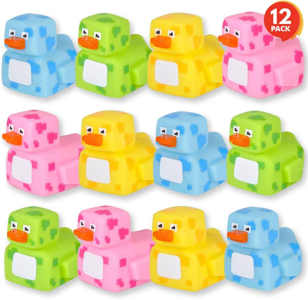 ArtCreativity 2.25 Inch Pixelated Rubber Duckies, Pack of 12, Cute Duck Bath Tub Pool Toys in Assorted Colors, Fun Decorations, Carnival Supplies, Party Favor or Small Prize