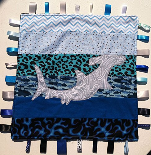 - Hammerhead ~ Ribbon Baby Blanket with Ribbon Tabs 21in. X 21in.