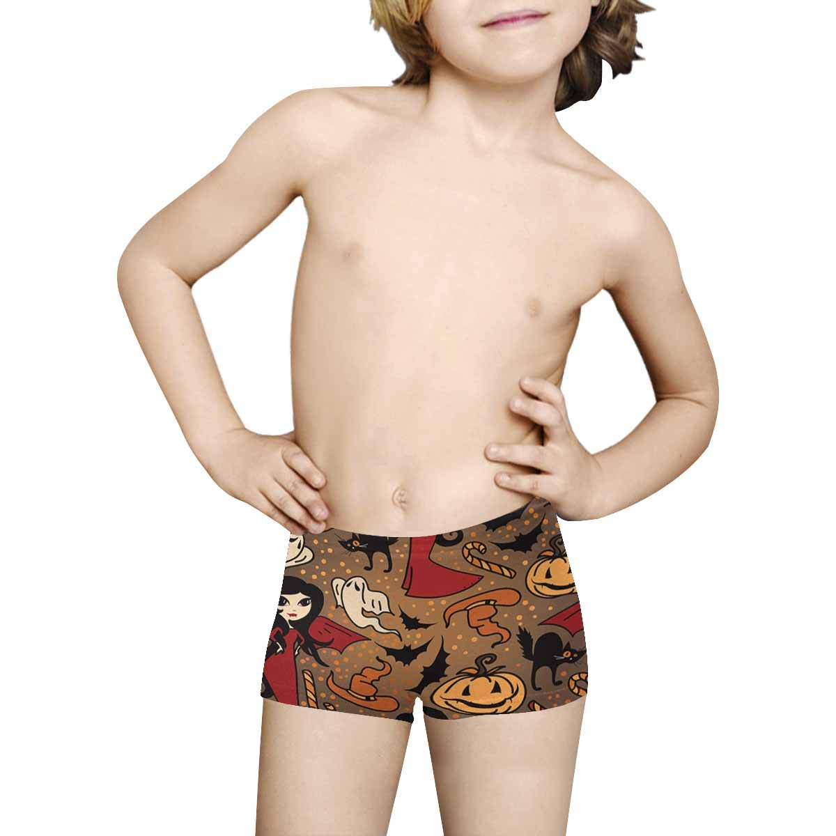 INTERESTPRINT Kids Halloween Cute Doodle Witches ComfortSoft Printed Boxer Briefs 5T-2XL