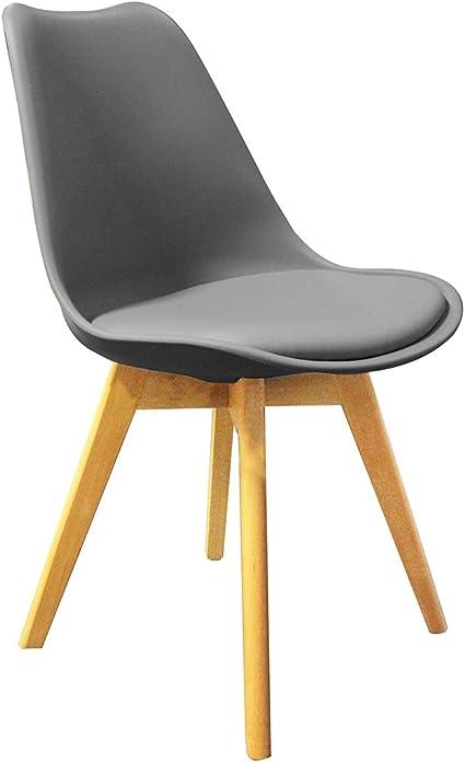 Meubletmoi Lot de 4 chaises Grises ET Bois Style scandinave Vintage Assise Moelleuse et Pieds Bois Massif Confortable et Robuste LIDY