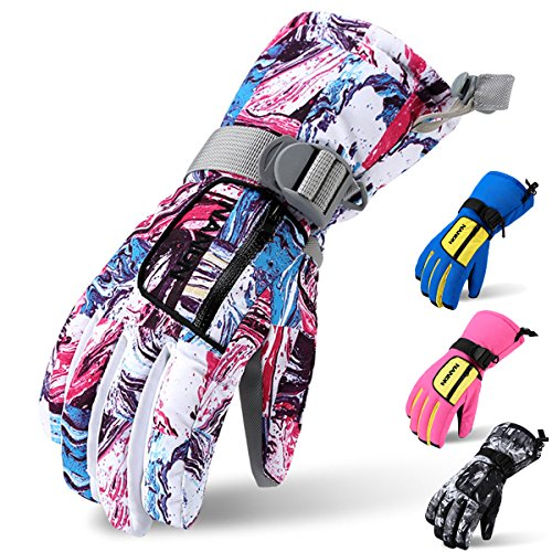 - Ski Gloves, Acokac Waterproof Breathable Winter Warm Gloves with Waterproof Membrane Insert and Zipper Pocket for Women Kids Girls, Perfect for Snow Skiing Snowboard Snowmobile(Pink White Camo)