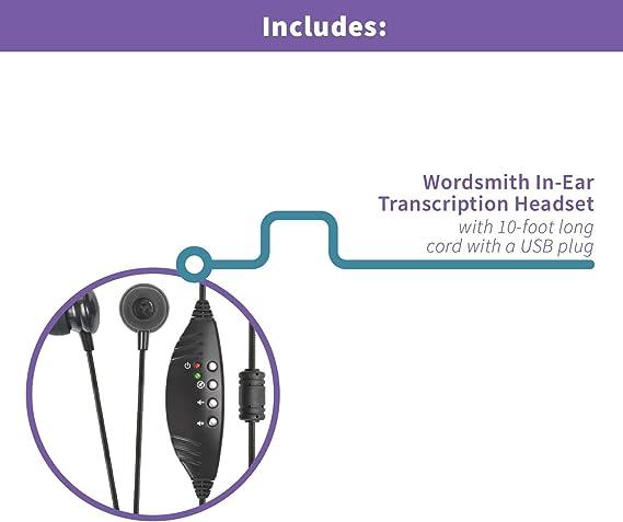 ECS WordSmith Noise Reduction In Ear USB Transcription Headset w//Volume Control
