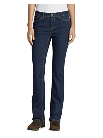 058736c9a47 Eddie Bauer Women's StayShape Boot Cut Jeans - Slightly Curvy, Deep Rinse  Petite