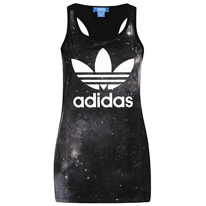 48ca9bc75b90 Amazon.com  adidas Originals Women s Galaxy Print Tank Vest - Black ...