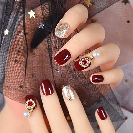 Qulin - Uñas postizas para decoración de uñas postizas, color rojo ...