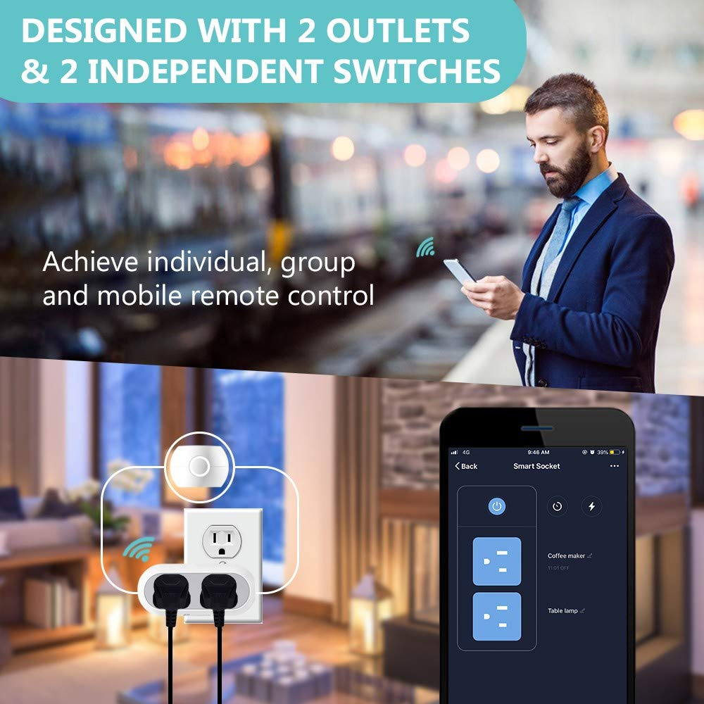 Houzetek 2 IN 1 Wi-Fi Smart Outlets,APP Remote Control,Compatible with  Alexa//Google Assistant//IFTTT 2 packs