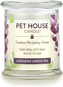 One Fur All 100% Natural Soy Wax Candle, 20 Fragrances - Pet Odor Eliminator, Appx 60 Hrs Burn Time, Non-Toxic, Reusable Glass Jar Scented Candles – Pet House Candle, Lavender Green Tea