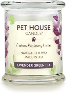product image for One Fur All 100% Natural Soy Wax Candle, 20 Fragrances - Pet Odor Eliminator, Appx 60 Hrs Burn Time, Non-Toxic, Reusable Glass Jar Scented Candles – Pet House Candle, Lavender Green Tea
