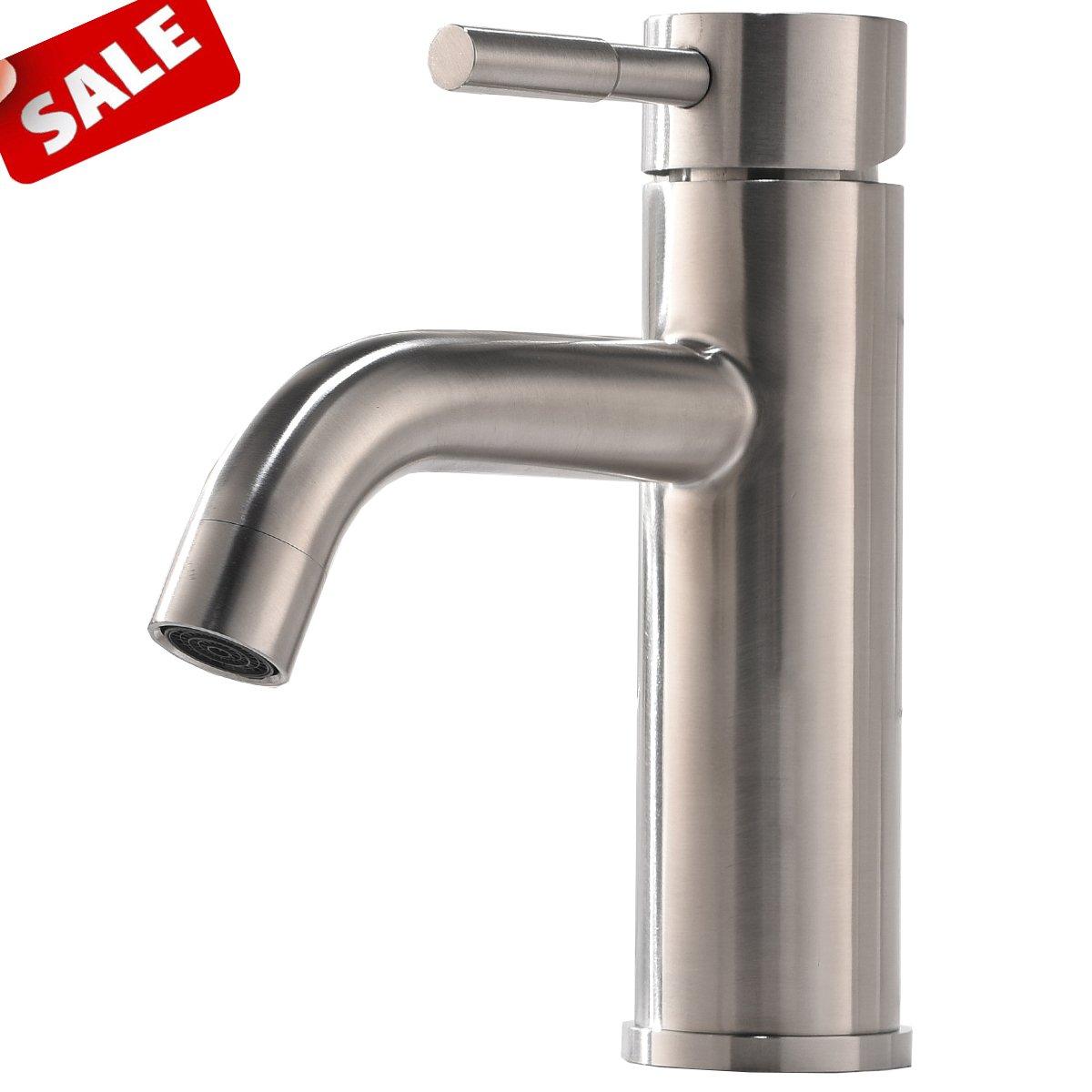 Shaco Commercial Stainless Steel Vanity Single Handle Bathroom Faucet ,Brushed Nickel Bathroom Sink Faucets