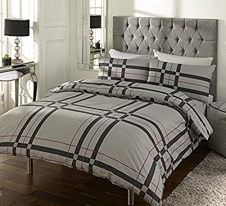 Multiple Sizes Available Sleepscene Cotton Rich Duvet Set in Grey
