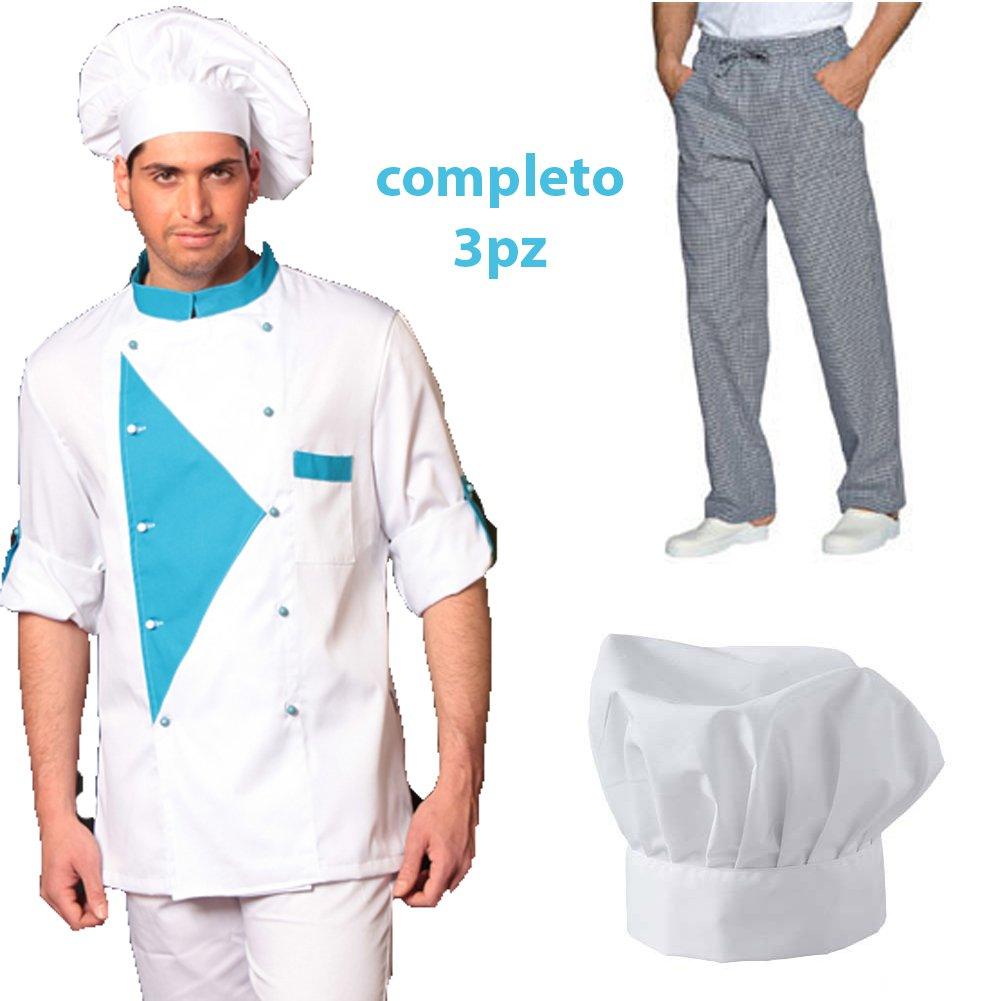 Completo Chef Cuoco 3pz Offerta Giacca Pantalone Cappello Cotone Made in Italy Fratelliditalia