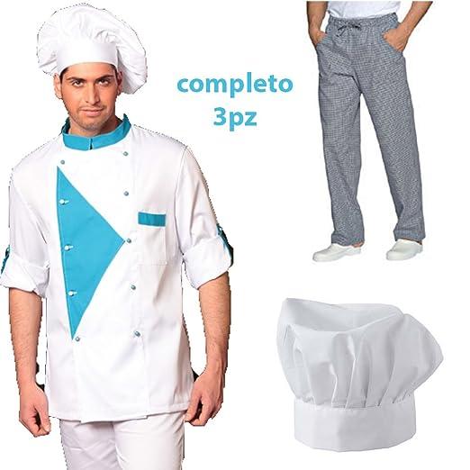 Uniforme completo con chaqueta, pantalón y gorro para chef o ...