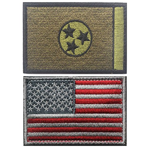 Embroidery USA Flag and TENNESSEE State Flag Velcro Patch