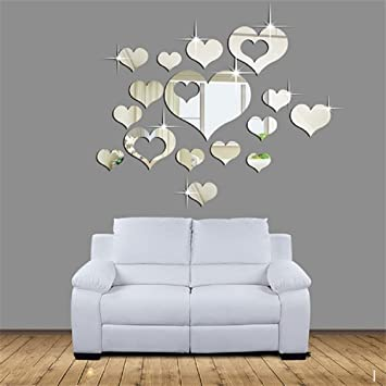 leeko d pegatinas de pared pcs diy reloj de pared decoracin de espejo corazn para hogar