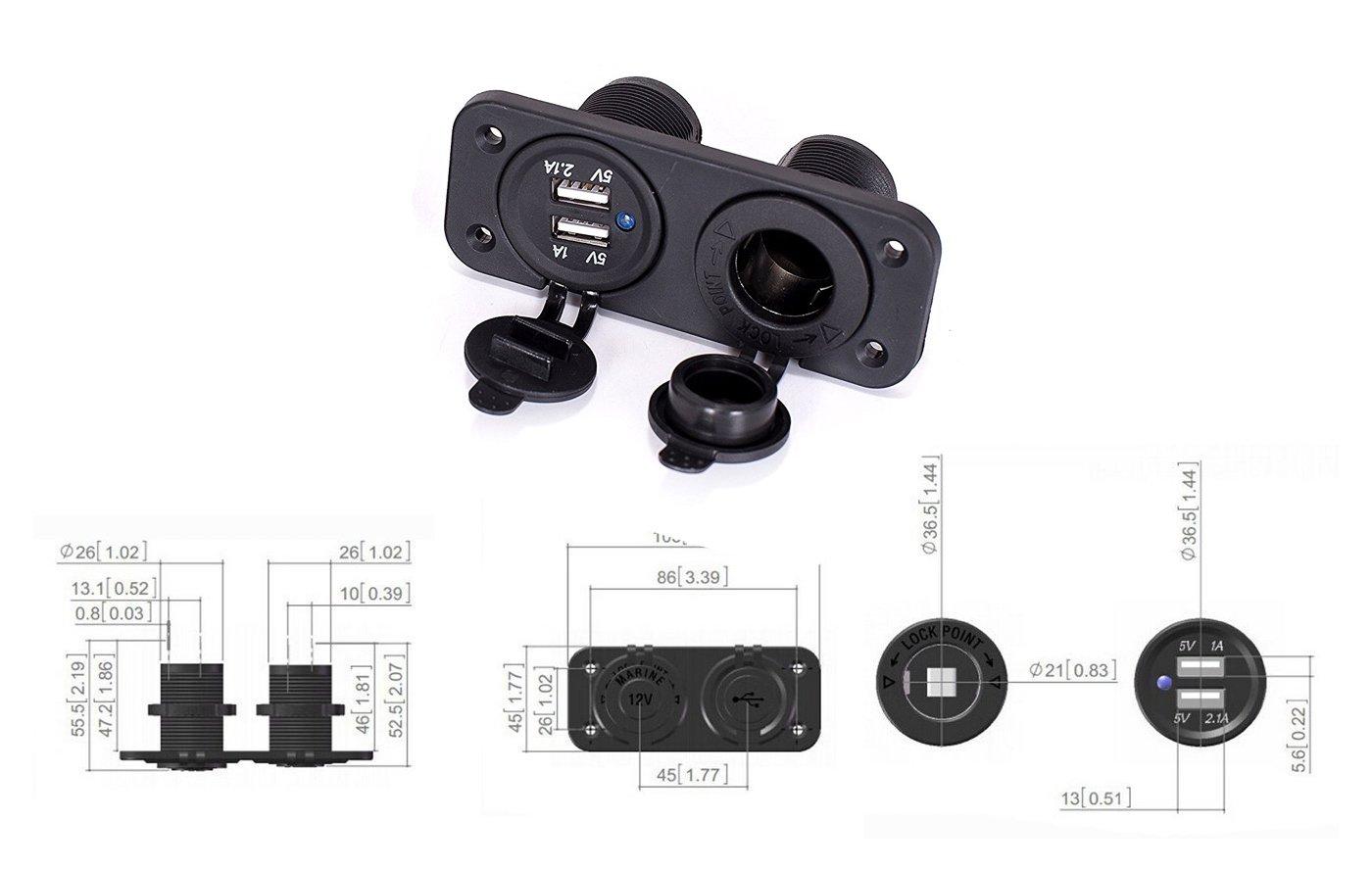 Gel/ändewagen Boot Wohnmobil und Motorrad Lodou 12 V Ladeger/ät Doppel-USB 2 A//1 A Ladeger/ät Power-Adapter Steckdose Zigarettenanz/ünder Verteiler mit integriertem 10-A-Sicherungsdraht f/ür Auto