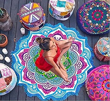 Cimiva - Toalla de playa redonda decorativa de 147 x 147 cm, de algodón para