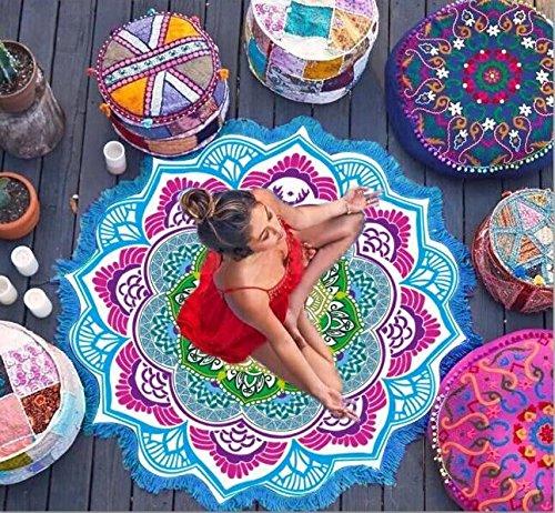 Cimiva - Toalla de playa redonda decorativa de 147 x 147 cm, de algodón para playa, yoga, decoración de cama o pared, baño, gimnasio, camping o viajes, etc.