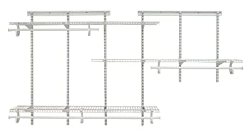 ClosetMaid 2075 ShelfTrack 5ft. To 8ft. Adjustable Closet Organizer Kit,  White