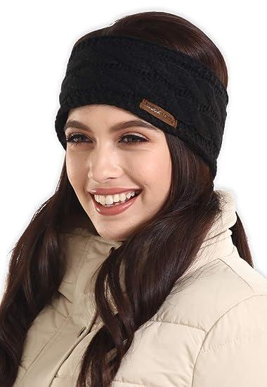 Womens Cable Knit Ear Warmer Headband - Winter Fleece Lined Headwrap ... cdc96524960