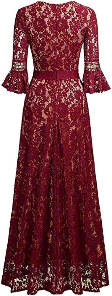 IMEKIS Damen Elegant Spitzenkleid Vintage Cocktailkleid Abendkleid A Linie 3//4 /Ärmel Partykleid Ballkleid Hochzeit Brautjungfernkleid Festlich Lang Ausgestelltes Kleid