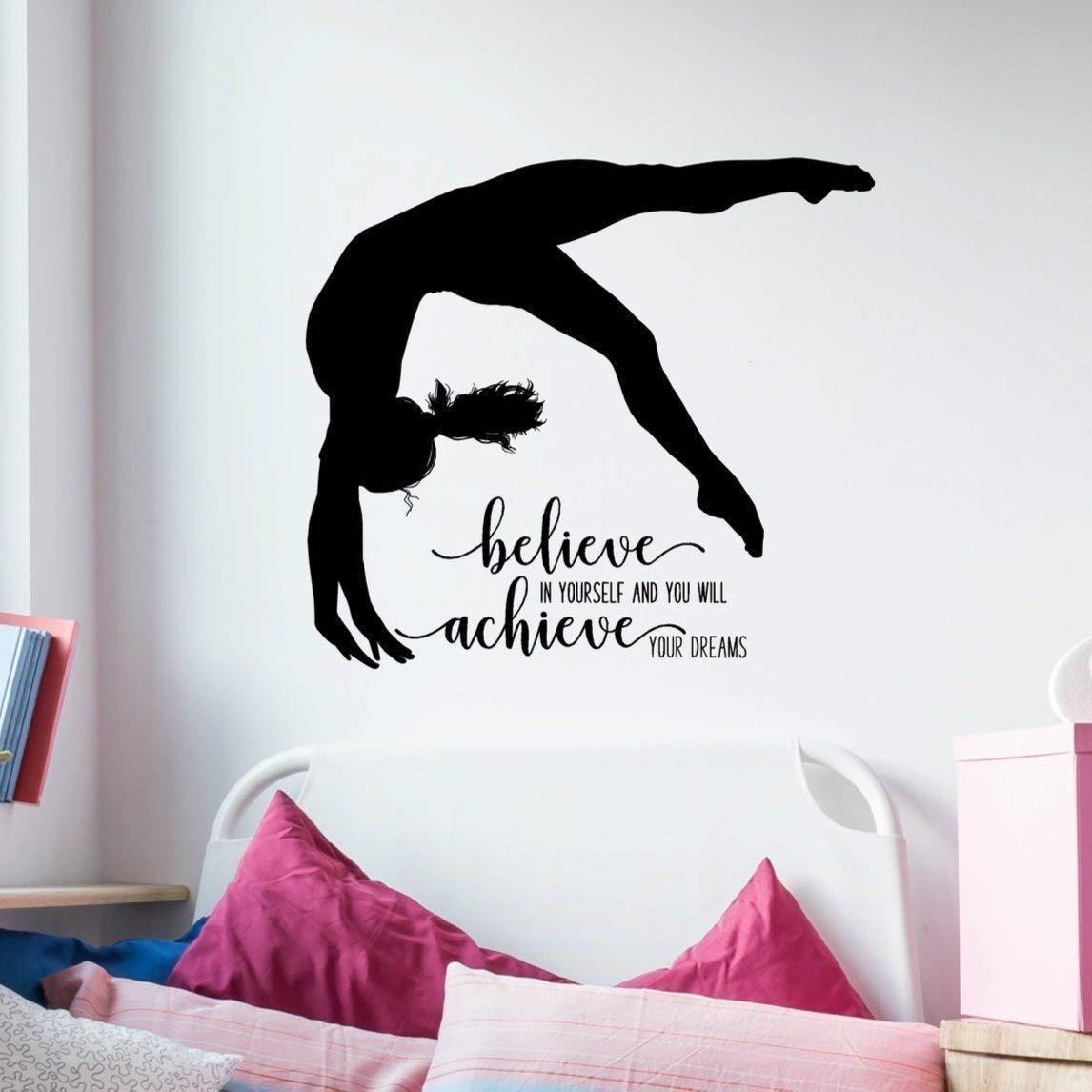 Gymnastics Quote Wall Decal, Dance Studio Decor, Gymnast Vinyl Sticker, 36''X32'' Black, Gymnast Gift