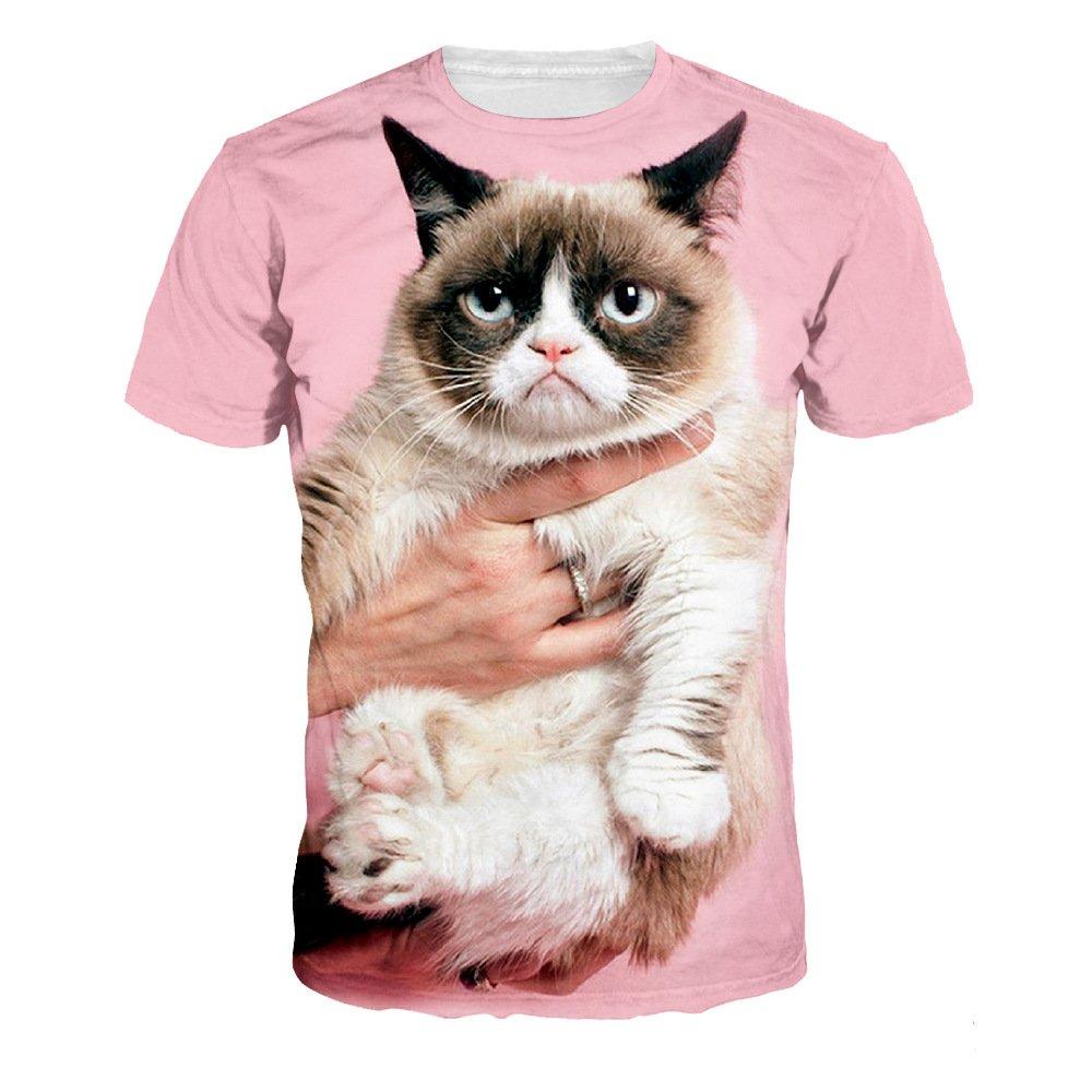 Lora s Unisex Grumpy Cat T-Shirt 3D Pink Cat Tee Shirt Summer Short T Shirts for Woman man