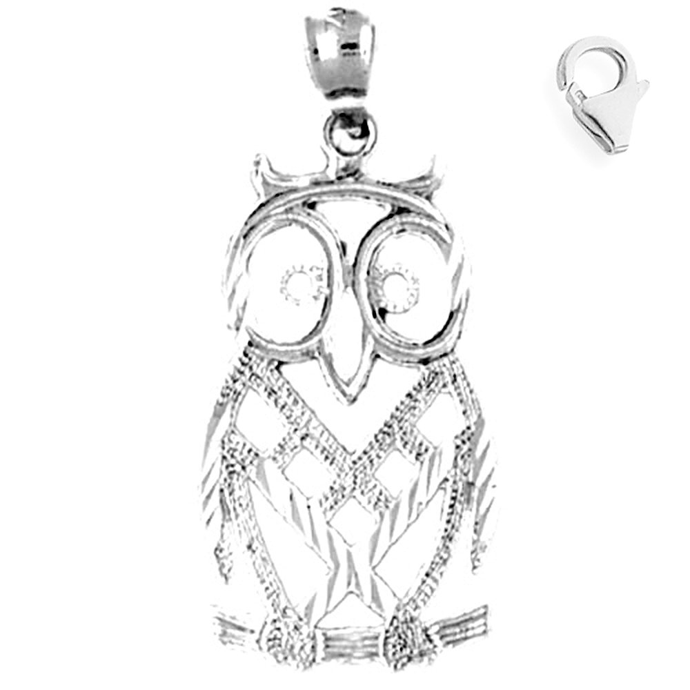 Jewels Obsession Owl Pendant Sterling Silver 34mm Owl with 7.5 Charm Bracelet