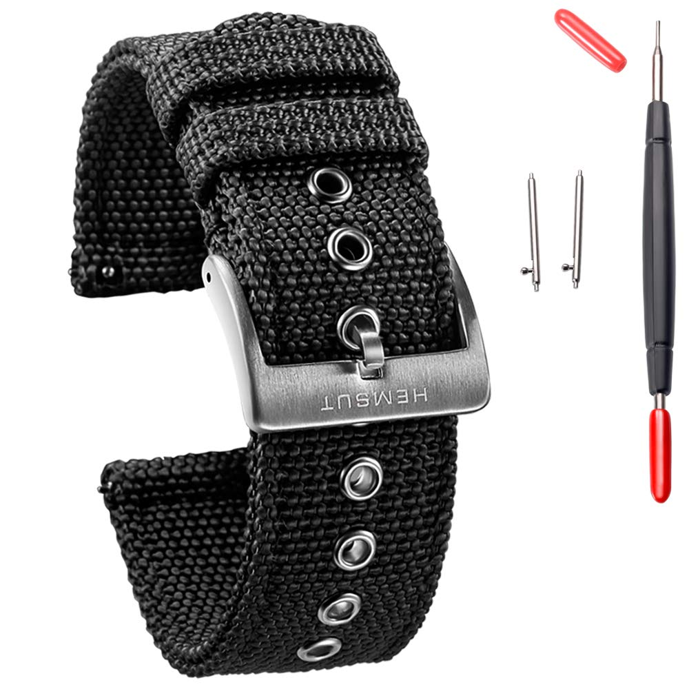 Torbollo Canvas Watch Band for Men 18mm 20mm 22mm 24mm Quick Release Sturdy Breathable Replacement Watch Straps for Women with Heavy Duty Brushed Buckle