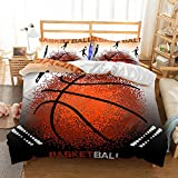 Damara Punctiform Basketball 3D Bedding Set Print Duvet Cover Set Lifelike Bed Sheet #06 (2, Queen)